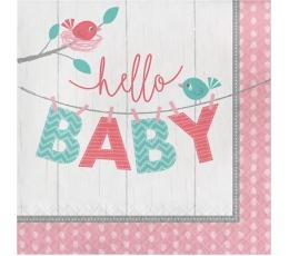 """Салфетки """"Птички, Hello Baby"""", розовые (16 шт)"""