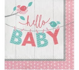"Salvetes ""Putniņi, Hello Baby"", rozā (16 gab)"