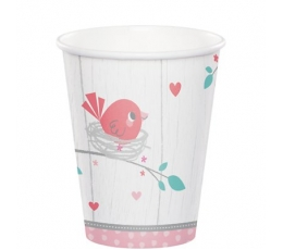 """Glāzītes """"Putniņi"""", rozā (8 gab/ 266 ml)"""