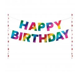 """Tortes dekorācija """"Happy Birthday"""", varavīksnes krāsās"""