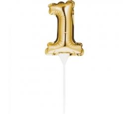 """Tortes dekorācija, folija skaitlis """"1"""", zelta"""