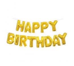"Folija baloni -uzraksts ""Happy Birthday"", zelta (35 cm)"