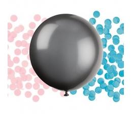 """Ballons """"Kas piedzims?"""" ar rozā un ziliem konfettī (1 gab/ 60 cm)"""