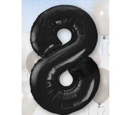 """Фольгированный шарик, цифра """"8"""", черный (85 см)"""