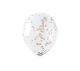 Caurspīdīgi  baloni ar krāsainiem zvaigžņu konfettī (5 gab/ 30 cm)