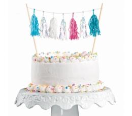 Tortes dekorācija-virtene, rozā-tirkīzzila