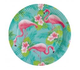 """Papīra šķīvīši """"Rozā flamingo"""" (8 gab/ 23 cm)"""