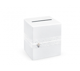 """Novēlējumu kaste """"Baltas mežģīnes"""" (24x24x24 cm)"""