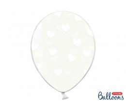 Шарик, прозрачный с белыми сердечками (30 см)