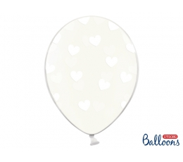 Balons, caurspīdīgs ar baltām sirsniņām (30 cm)