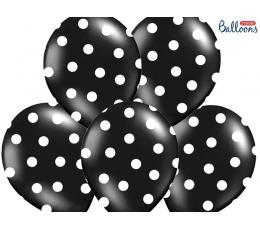 Balons, melns ar punktiem (30 cm)