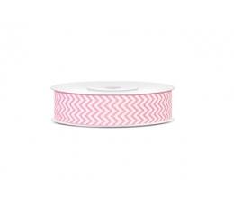 Декоративная лента, светло розовая, зиг-заг (18 мм/ 10 м)