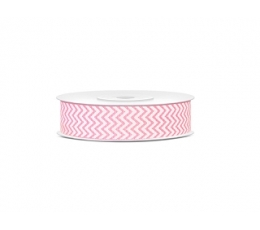 Dekoratīva lente, gaiši rozā zig-zags (18 mm/ 10 m)