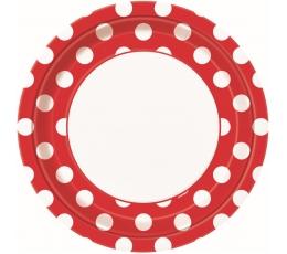 Šķīvīši, sarkani ar punktiem (8 gab/23 cm)