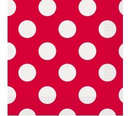 Salvetes, sarkanas ar punktiem (16 gab)