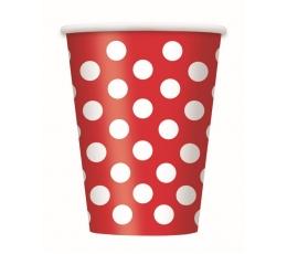 Glāzītes, sarkanas ar punktiem (6 gab/355 ml)