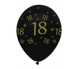 """Baloni """"18"""", melni-zelta (6 gab)"""