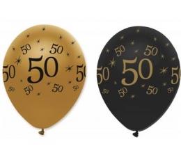 """Baloni """"50"""", melni un zelta (6 gab)"""
