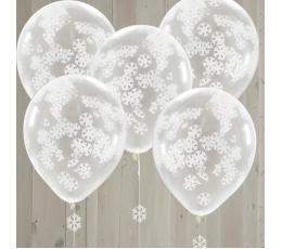 Caurspīdīgi baloni ar konfettī sniegpārslām (5 gab/ 30 cm)