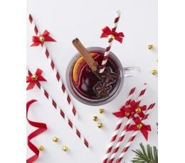 Ziemassvētku salmiņi ar zvaniņu, svītraini-sarkani (10 gab)