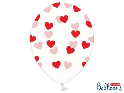 Baloni, caurspīdīgi ar sarkanām sirniņām (6 gab/ 30 cm)