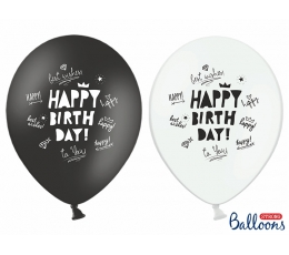 "Baloni, melni-balti ""Happy Birthday"" (6 gab)"