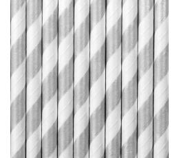 Соломки , серые, широкие в полоску  (10 шт)