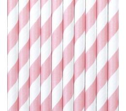 Salmiņi maigi rozā, plati strīpaini (10 gab)