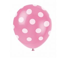 Baloni, rozā ar punktiem (6 gab/30 cm)