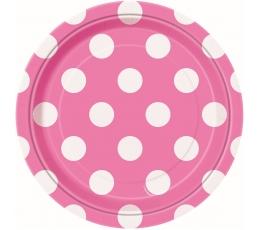 Šķīvīši, rozā ar punktiem (8 gab/18 cm)