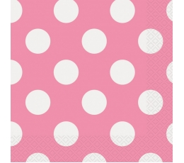 Salvetes, rozā ar punktiem (16 gab)
