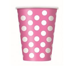 Glāzītes, rozā ar punktiem (6 gab/355 ml)