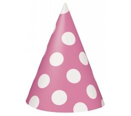 Cepurītes, rozā ar punktiem (8 gab)