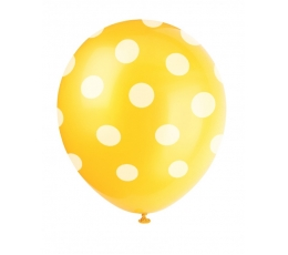 Baloni, dzelteni ar punktiem (6 gab/30 cm)