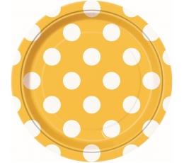 Šķīvīši, dzelteni ar punktiem (8 gab/18 cm)
