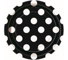 Šķīvīši, melni ar punktiem (8 gab/18 cm)