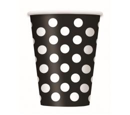 Glāzītes, melnas ar punktiem (6 gab/355 ml)