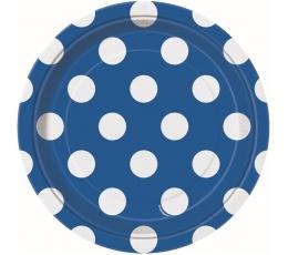 Šķīvīši, zili ar punktiem (8 gab/18 cm)
