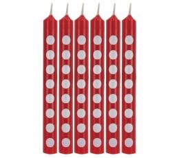 Svecītes, sarkanas ar punktiem (12 gab)