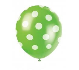 Baloni, salātkrāsas ar punktiem (6 gab/30 cm)