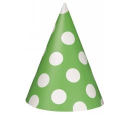Cepurītes, salātkrāsas ar punktiem (8 gab)