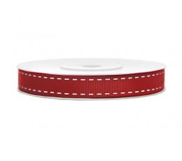 Dekoratīva lente, sarkana lente ar rakstu (baltas iešuves) (25 m)