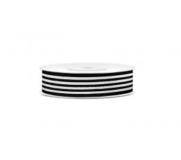 Dekoratīva lente, melnbalta-svītraina (10 m)