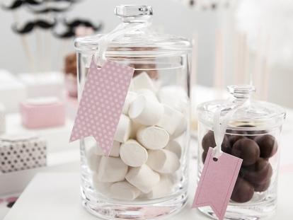 Декоративные  етикетки, розовые  (6 шт)