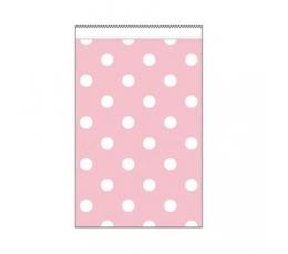 Mini dāvanu maisiņi, rozā punktaini (20 gab)