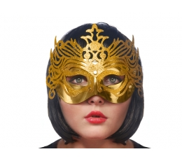 Домино  маска, золотая(1шт)