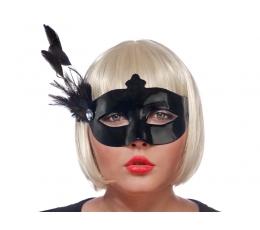 Domino maska ar spalvu, melna (1gab)