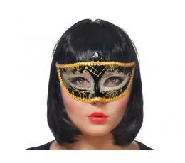 Domino maska, zeltīti melna (1gab)