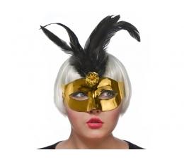 Domino maska, zelta ar melnām spalvām (1gab)