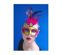 Domino maska, zelta ar rozā spalvām (1gab)